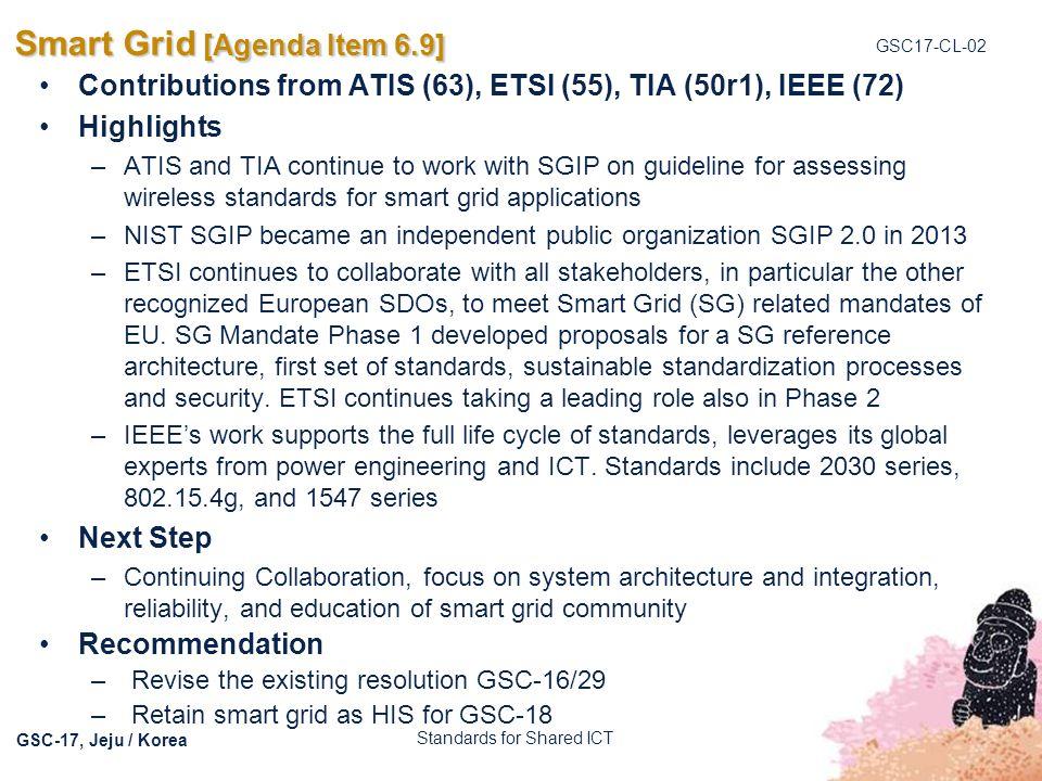 Smart Grid [Agenda Item 6.9]